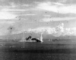 Musashi hit by a bomb from US Navy carrier aircraft, Battle of Sibuyan Sea, 24 Oct 1944