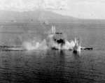 Musashi and a destroyer under attack, Battle of the Sibuyan Sea, 24 Oct 1944, photo 2 of 2