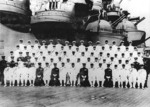 Emperor Showa (Hirohito; front center) and Nagano (front, 6th from Left) aboard the Musashi, 24 Jun 1943