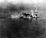 Musashi and a destroyer under attack, Battle of the Sibuyan Sea, 24 Oct 1944, photo 1 of 2