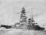Battleship Mutsu underway, date unknown