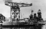 Battleship Mutsu during reconstruction, Yokosuka, Japan, May 1936