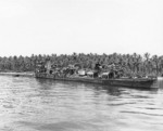 Wrecked Nagatsuki on the beach at Kolombangara, Solomon Islands. She was beached 5 Jul 1943 in the Battle of Kula Gulf, photographed 8 May 1944