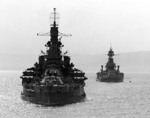 USS Nevada and USS Texas in Belfast Lough, Northern Ireland, United Kingdom, 14 May 1944