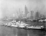 Battleship New Jersey being moved from the New York Navy Yard to the New York Group, Atlantic Reserve Fleet based at Bayonne, New Jersey, United States, early 1948