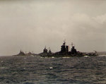 US battleships New Mexico, Idaho, and Tennessee off Iwo Jima or Okinawa, Feb-Apr 1945