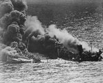 US tanker Dixie Arrow burning after being torpedoed by German submarine U-71, off North Carolina, United States, 26 Mar 1942