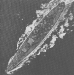 Aerial view of USS North Carolina, off the US east coast, 17 Apr 1942, photo 1 of 3