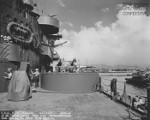 Side view of a twin 40mm Bofors mount aboard USS North Carolina while the ship was at Pearl Harbor Navy Yard, US Territory of Hawaii, 15 Nov 1942