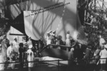 Christening of North Carolina, New York Navy Yard, Brooklyn, New York, United States, 13 Jun 1940; note Isabel Young Hoey breaking champagne bottle
