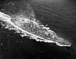 Aerial view of USS North Carolina, off the US east coast, 17 Apr 1942, photo 3 of 3