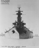 Bow view of USS North Carolina, Pearl Harbor Navy Yard, US Territory of Hawaii, 16 Nov 1942