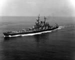 USS North Carolina off New York, New York, United States, 3 Jun 1946, photo 1 of 3; photograph taken by an aircraft from Naval Air Station, New York