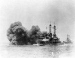Oklahoma firing her 14-inch guns during exercises in the 1920s