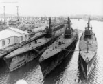 USS Dentuda, USS Searaven, and USS Tuna in foreground, with USS Parche, USS Bluegill, and USS Hackleback also present, at Mare Island Naval Shipyard, Vallejo, California, United States, 17 Oct 1946