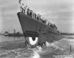 Launching ceremony of submarine Parche, Portsmouth Naval Shipyard, Kittery, Maine, United States, 24 Jul 1943