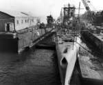 USS Parche and another submarine at Mare Island Naval Shipyard, Vallejo, California, United States, 19-23 Oct 1945