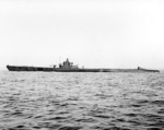 USS Permit off Mare Island Navy Yard, California, United States, 13 Jan 1943, photo 2 of 2; note newly installed port-side external torpedo tube