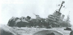 Argentine cruiser General Belgrano sinking after being torpedoed by HMS Conqueror, off Falkland Islands, 2 May 1982