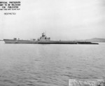 Port view of USS Pompon off Mare Island Naval Shipyard, California, United States, 18 Nov 1944