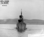 Bow view of USS Pompon off Mare Island Naval Shipyard, California, United States, 18 Nov 1944