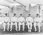 Commander Ernest G. Small of US Navy Destroyer Division Three with captains of his ships, aboard Porter, Guantanamo Bay, Cuba, 21 Mar 1939
