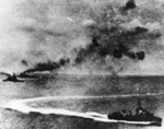 Attack on Prince of Wales and Repulse, 10 Dec 1941, photo 2 of 2; photo taken by a Japanese pilot; note destroyer Electra or Express in foreground