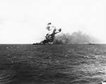 Princeton burning after Japanese attack off Leyte, 24 Oct 1944, 2 of 4