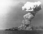 Princeton burning after Japanese attack off Leyte, 24 Oct 1944, 4 of 4
