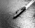 Light Carrier USS Princeton with a deck full of aircraft on her shakedown cruise, 31 May 1943 off Antigua. Photo 2 of 4