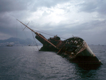 Wreck of Seawise University in Victoria Harbour, Hong Kong, Jul 1972