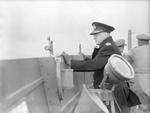 Admiral Dudley Pound on the bridge of RMS Queen Mary, May 1943