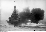 HMS Repulse firing her guns, Sep 1929