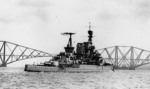 Repulse in the Firth of Forth, Scotland, United Kingdom, circa 1916-17; note Forth Bridge in background