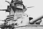Close-up view of turret No. 2 and bridge of Richelieu, probably at New York City, New York, United States, early 1943; note damaged gun barrel