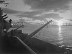 HMS Rodney on the Firth of Forth at sunset, Scotland, United Kingdom, date unknown