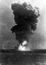 Explosion aboard Roma, Strait of Bonifacio between the Mediterranean Sea and the Tyrrhenian Sea, 9 Sep 1943, photo 1 of 2