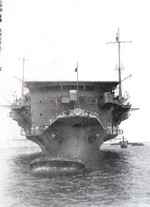 Close-up view of the bow of carrier Ryujo, Yokosuka, Japan, 19 Jun 1933