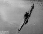 Aerial stern view of USS S-28 making 10 knots, off Seattle, Washington, United States, 10 Jun 1943
