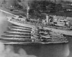 Submarine tender Beaver with submarines S-32, S-35, S-30, S-33, S-31, and S-34 at Olongapo, Philippine Islands, Mar 1929