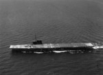 USS Sable underway in Lake Michigan, United States, 1945; note crashed FM-2 fighter on flight deck