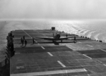 SNJ Texan aircraft having just landed on USS Sable, Lake Michigan, United States, 10 Jun 1943