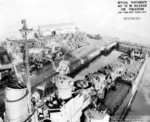 USS San Diego in drydock No. 2 of Mare Island Naval Shipyard, Vallejo, California, United States, 1 Nov 1945, photo 2 of 2