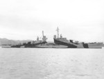 USS San Diego off Mare Island Naval Shipyard, Vallejo, California, United States, 10 Apr 1944, photo 1 of 5; note camouflage Measure 33, Design 24d