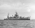 San Francisco off Korea, 28 Sep 1945; note SOC aircraft on catapults