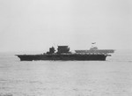 USS Saratoga (foreground) and USS Enterprise (background) underway in the Solomon Islands, Aug 1942