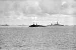 Saratoga sinking after atomic bomb blast, Bikini Atoll, Marshall islands, 25 Jul 1946, photo 2 of 2