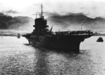 USS Saratoga arriving at Pearl Harbor, US Territory of Hawaii, 6 Jun 1942