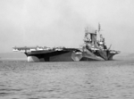 USS Saratoga in Camouflage Measure 32  following overhaul, Puget Sound, Washington, United States, 7 Sep 1944, photo 2 of 2