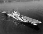 USS Saratoga in Camouflage Measure 32  following overhaul, Puget Sound, Washington, United States, 7 Sep 1944, photo 1 of 2